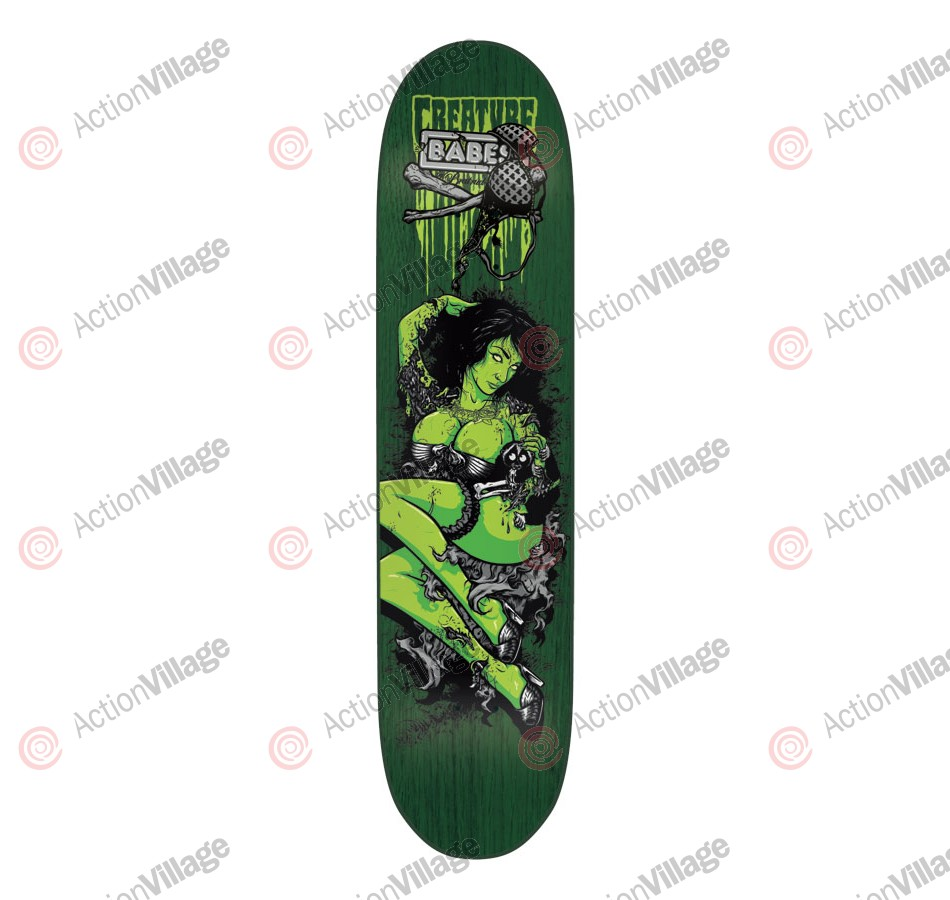 Creature Team Babes LG Powerply - 32.35in x 8.6in - Green - Skateboard Deck