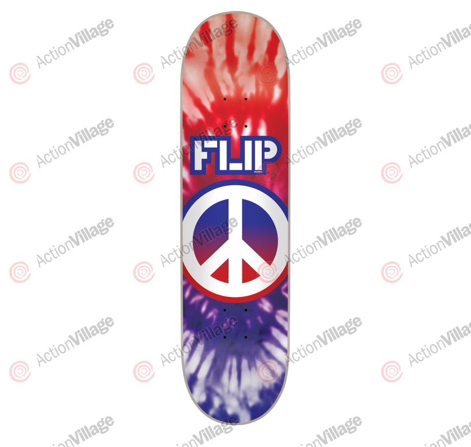 Flip Team Peaceout USA Or Dye - 32.0in x 8.13in - Purple/Red - Skateboard Deck