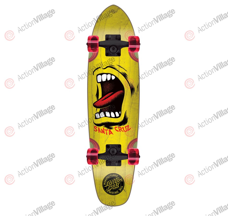 Santa Cruz Sidewalk Screamer Cruzer - 6.5in x 25.5in - Yellow - Complete Skateboard