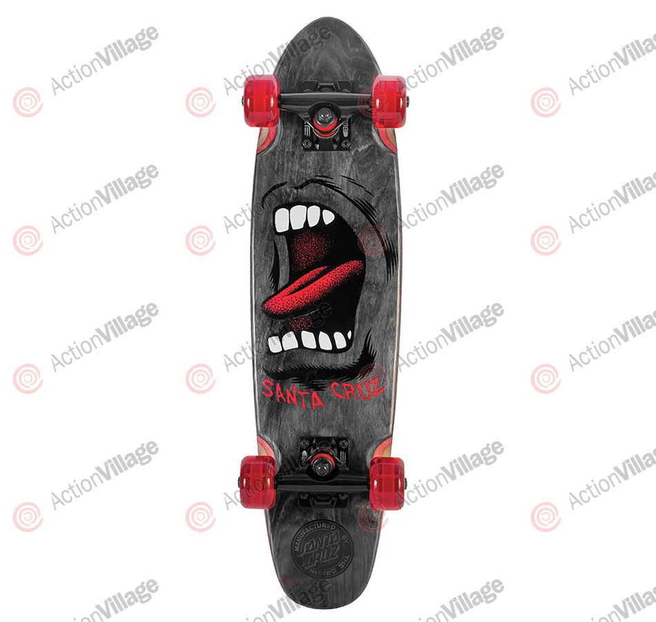 Santa Cruz Sidewalk Screamer Cruzer - 6.4in x 25.3in - Black - Complete Skateboard