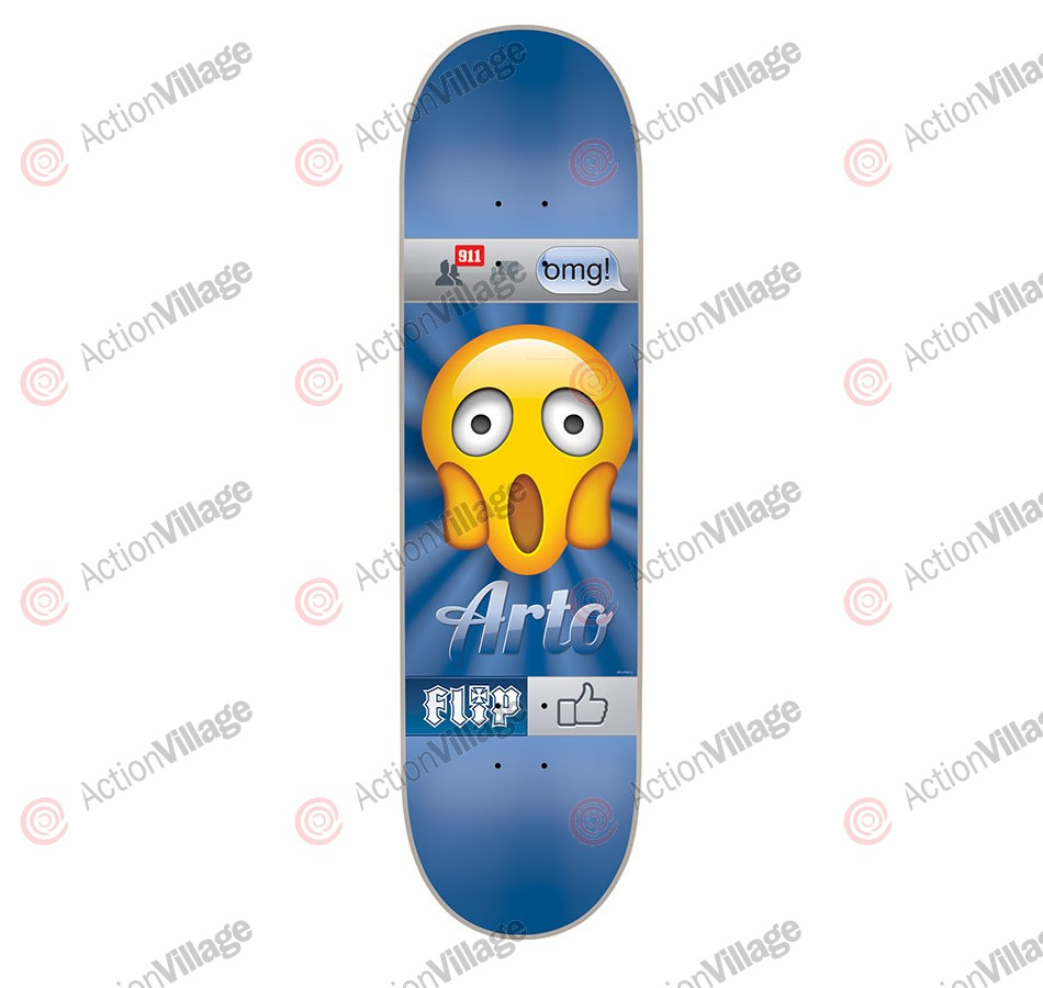 Flip Saari Emoji - 32in x 8.13in - Blue - Skateboard Deck