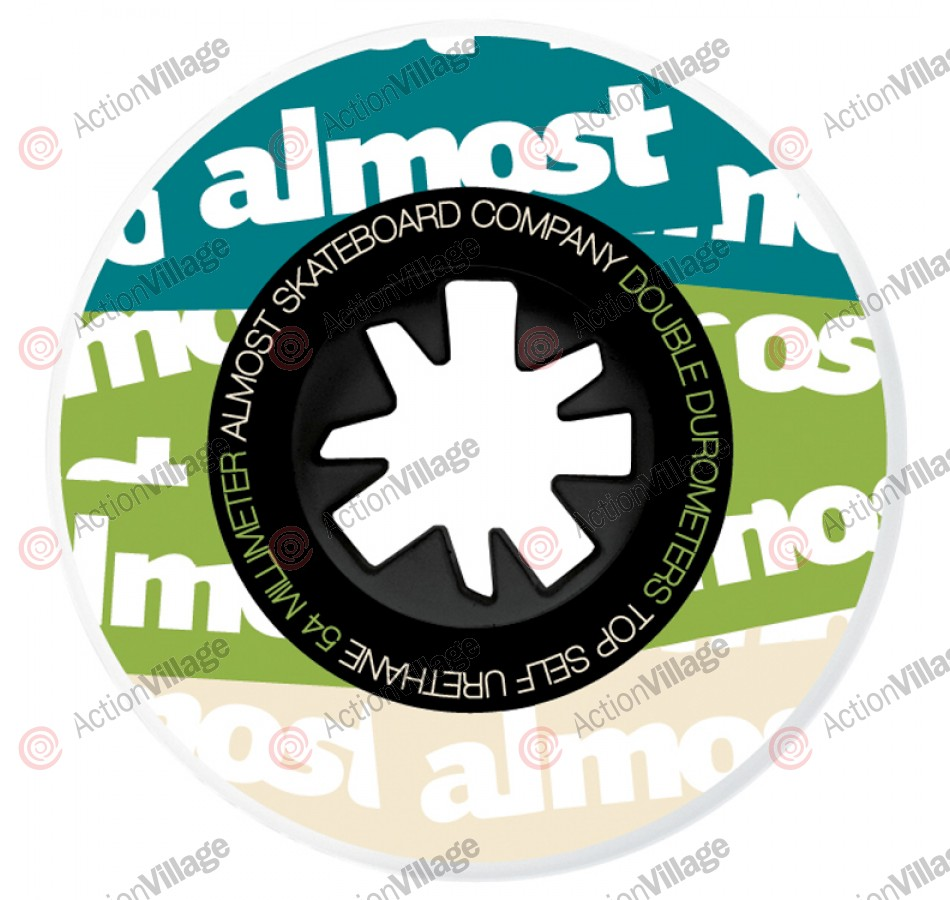 Almost Plastered Dual Durometer (Set of 4) - 54mm - Multi / Green - Skateboard Wheels
