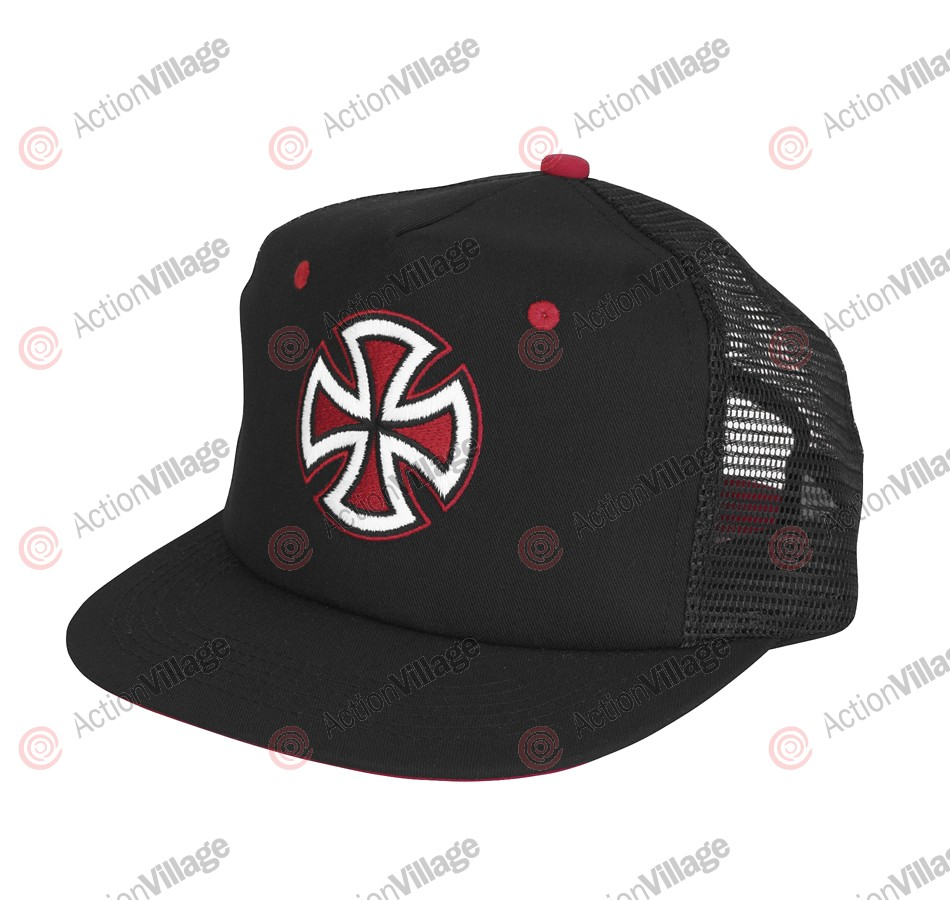 Independent Painted Cross Trucker Mesh Hat - One Size Fits All - Black