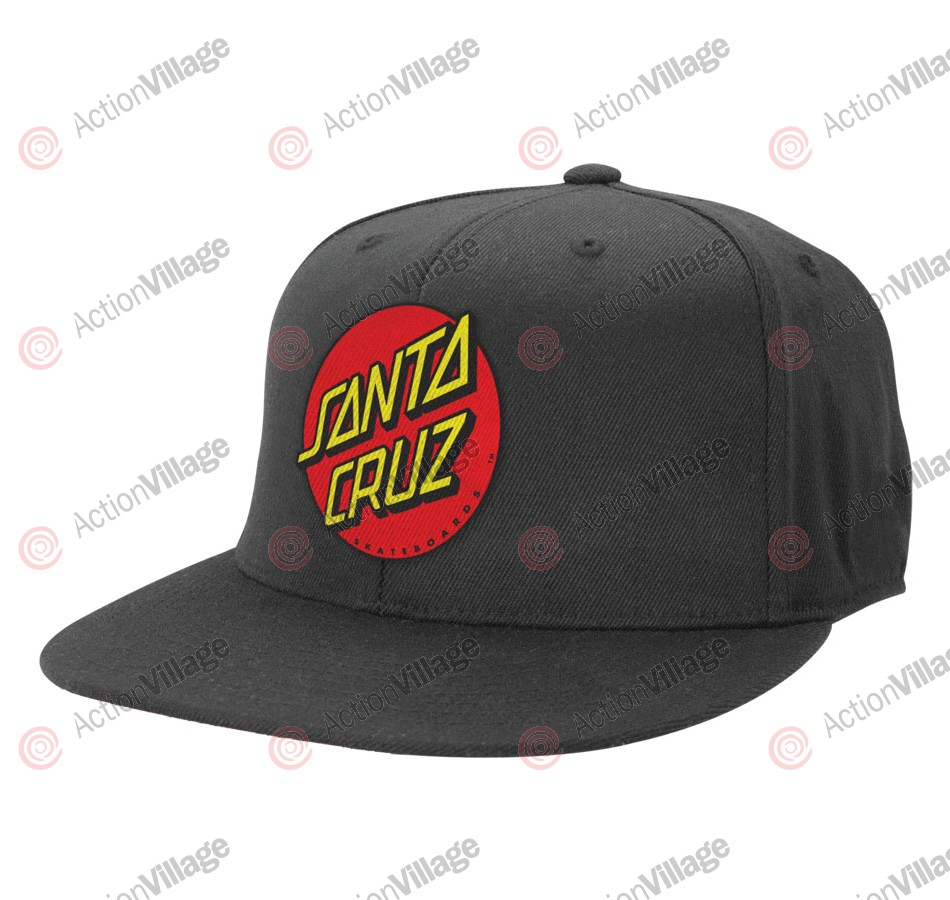 Santa Cruz Classic Dot Flexfit Fitted Stretch Hat Black - Mens Hat