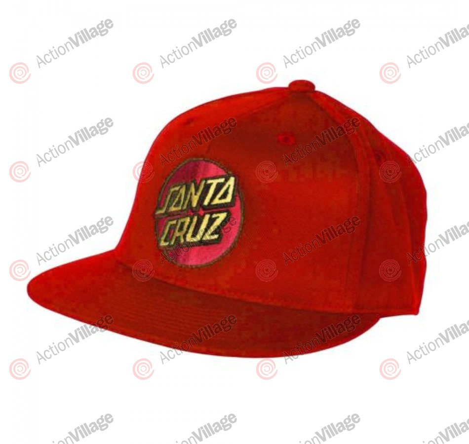 Santa Cruz Classic Dot Flexfit® Fitted Stretch Hat - Red - Small/Medium