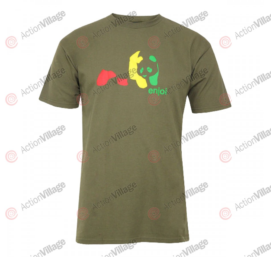 Enjoi Rasta Panda S/S Tee - Military Green - T-Shirt