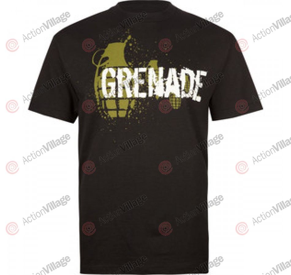 Grenade Splatter Logo - Men's T-Shirt - Black - Small