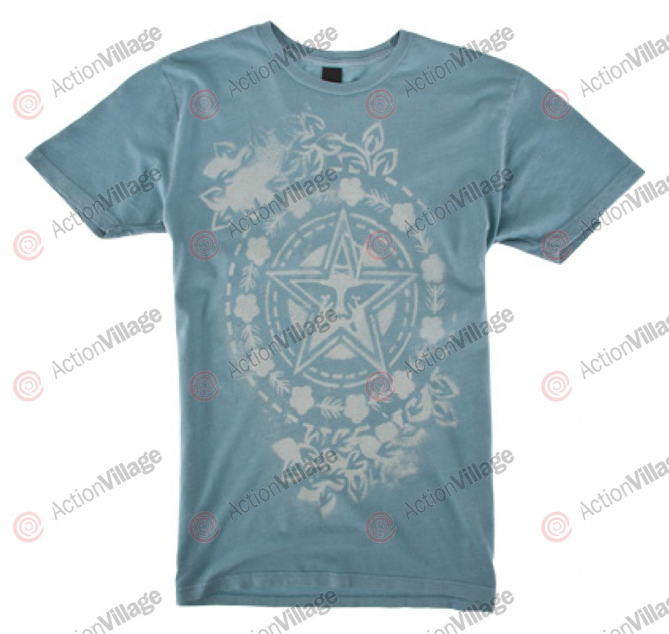 Obey Floral Star Stencil- T-Shirt - Lake Blue