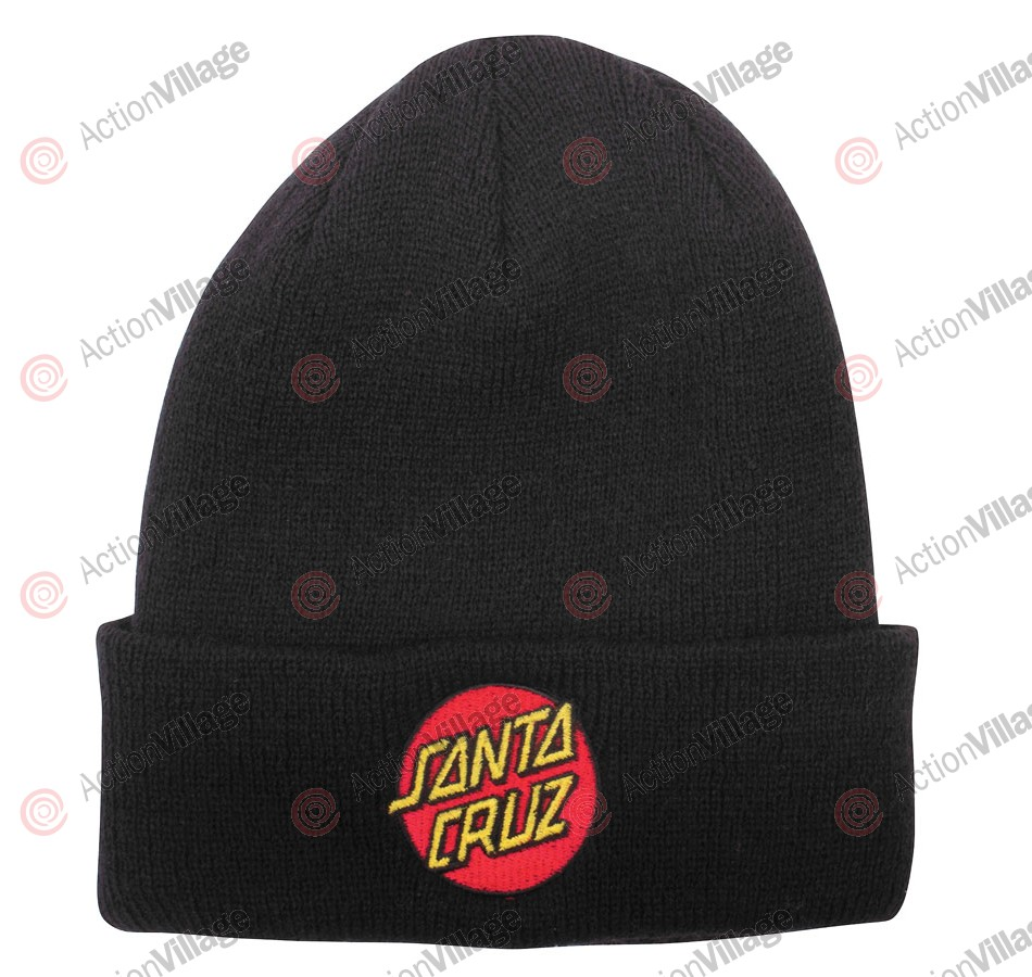 Santa Cruz Classic Dot Long Shoreman - One Size Fits All - Black - Men's Beanie