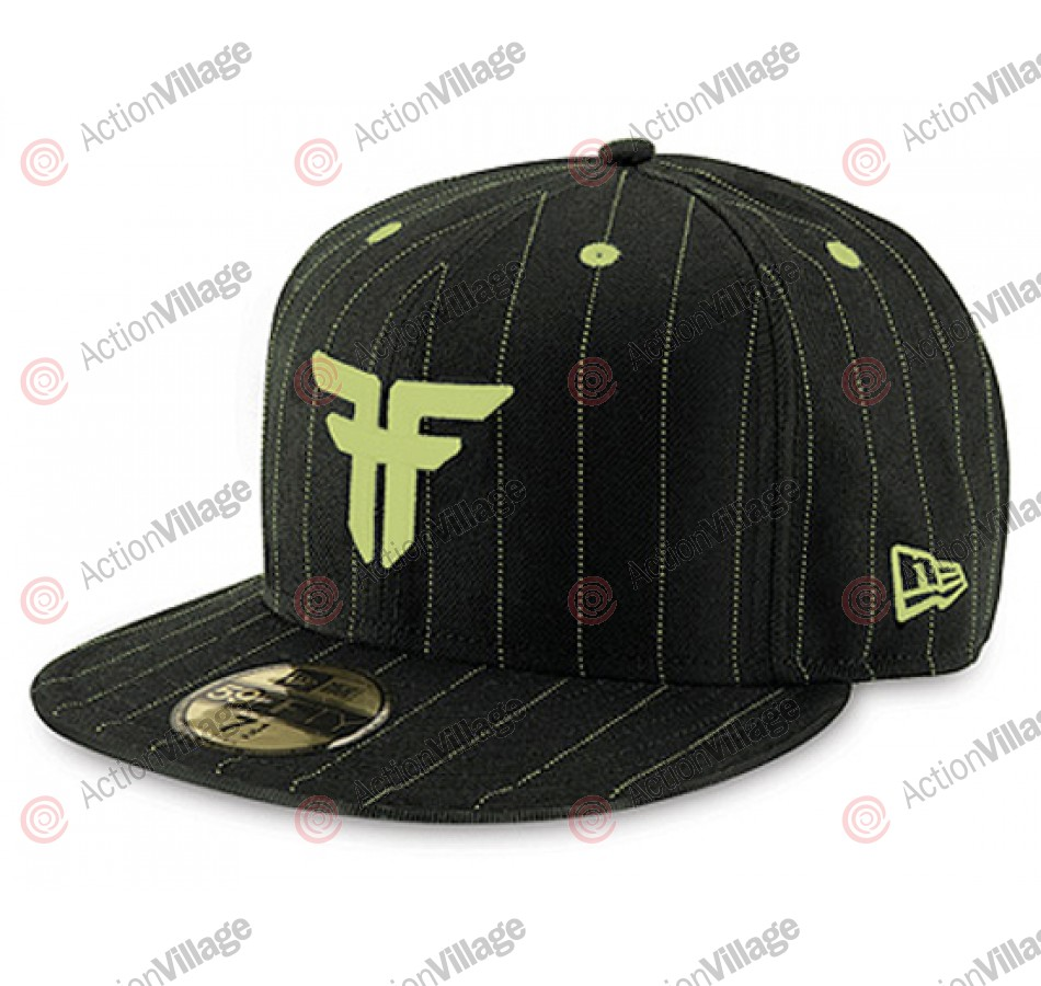 Fallen Trademark - Black / Lime Green Pinstripe - Men's Hat - 7 3/8