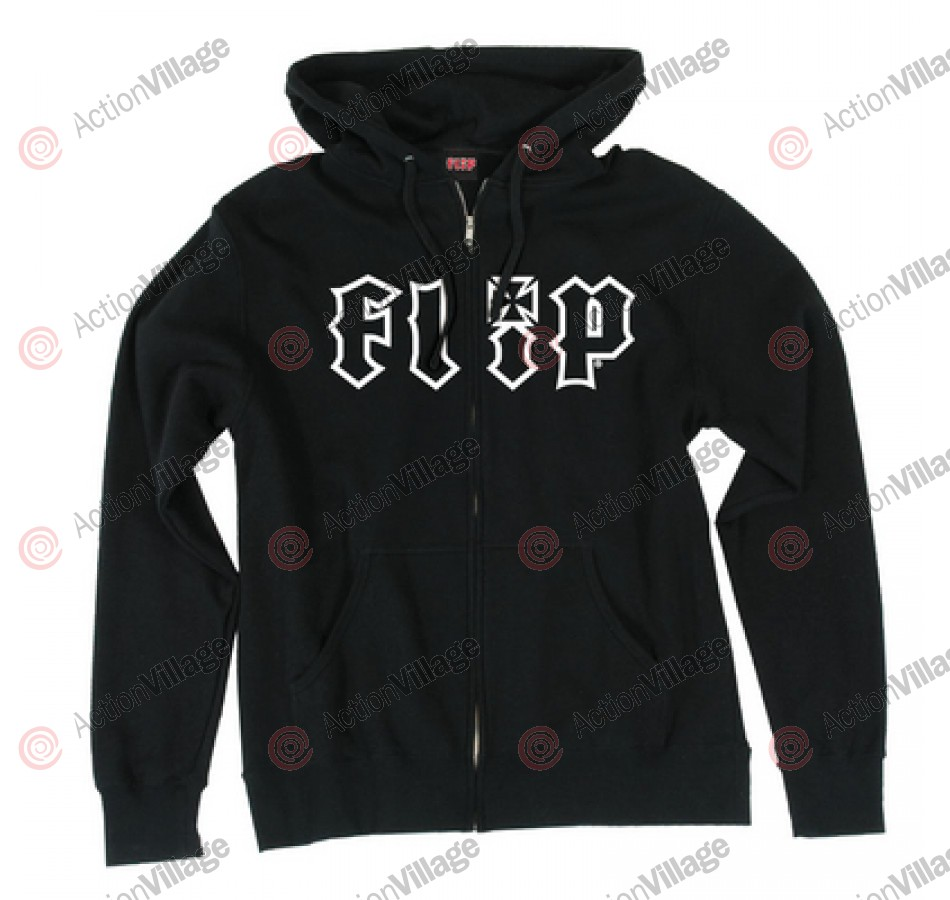 Flip HKD OUTLINE Hooded Zip L/S - Black - Men's Sweatshirt