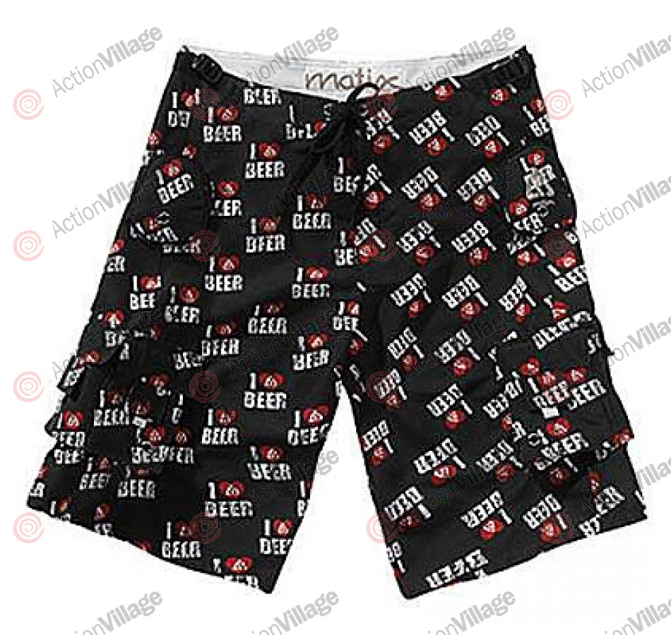 Matix Mens Boardshorts Supergusto True Love Black - Men's Bathing Suit - Size 28