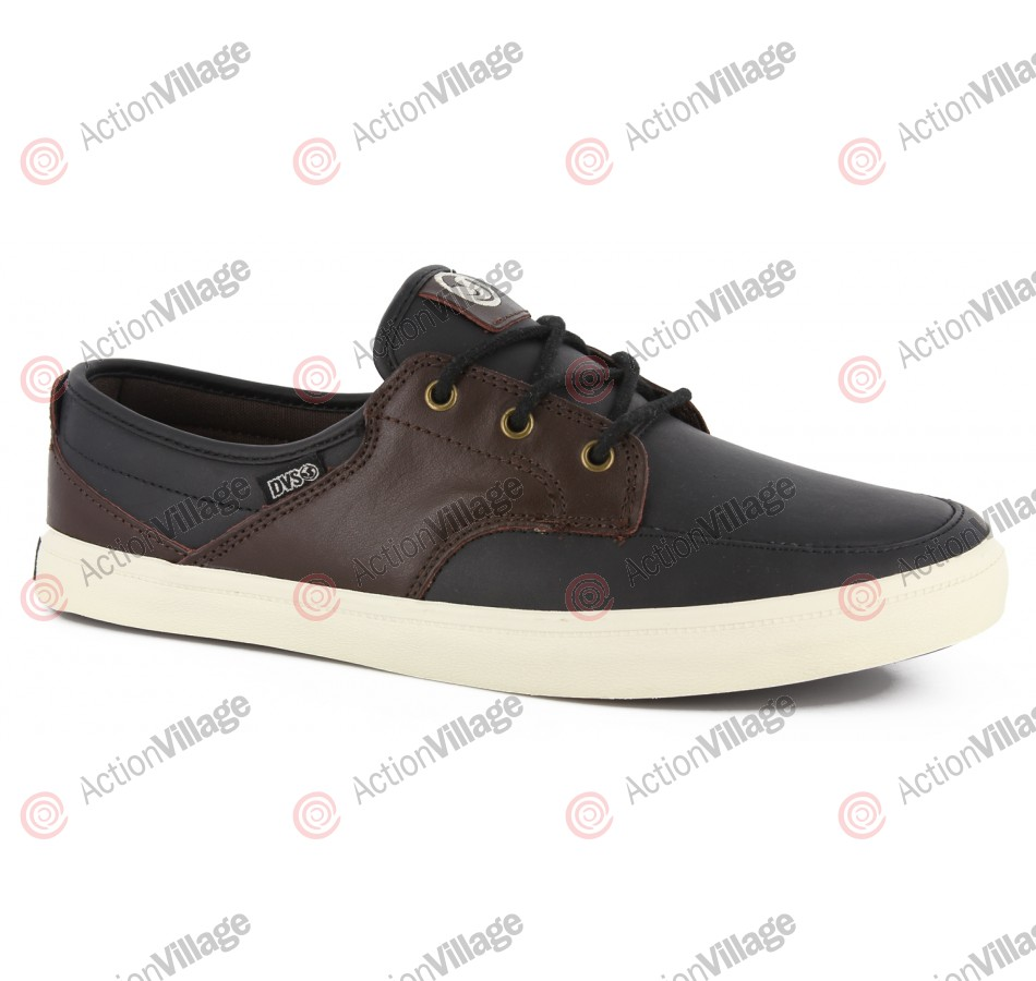 DVS Landmark - Black/Brown Leather - Skateboard Shoes