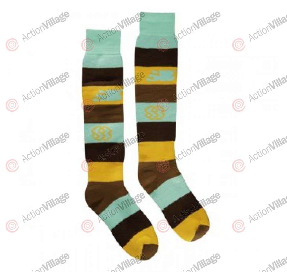 Special Blend Big Stripe Stout Socks - Teal/Brown/Yellow - Sock - Medium