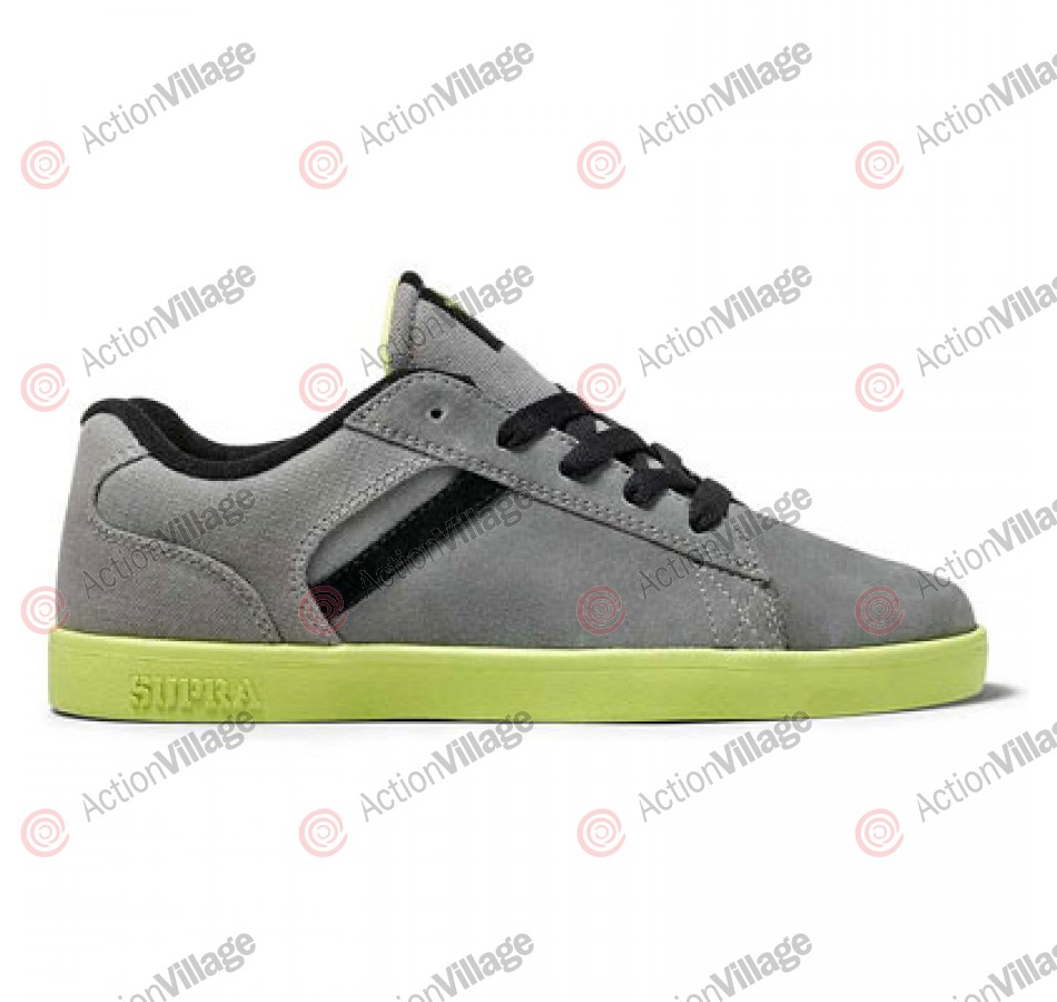 Supra Bullet - Men's Shoes Grey Suede / Neon Yellow Outsole