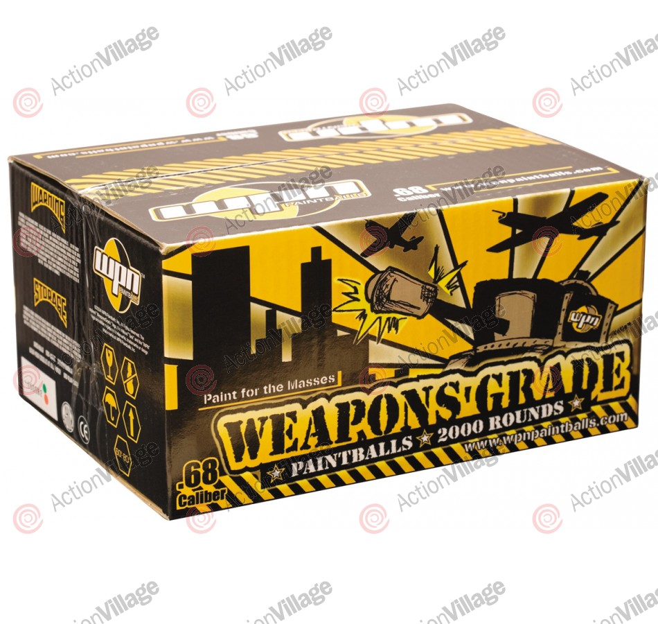 WPN Weapons Grade Paintballs Case 100 Rounds - Green Shell - Yellow Fill