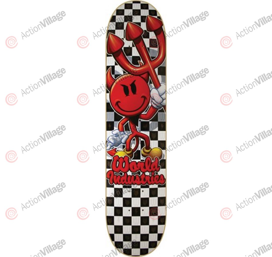 World Industries Checker Devilman - Black/White  - 7.75 - Skateboard Deck