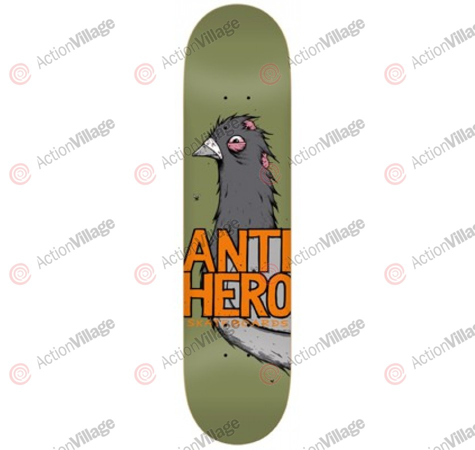 Anti-Hero Pigeon Close Up Lg - Green/Orange - 8.5 - Skateboard Deck