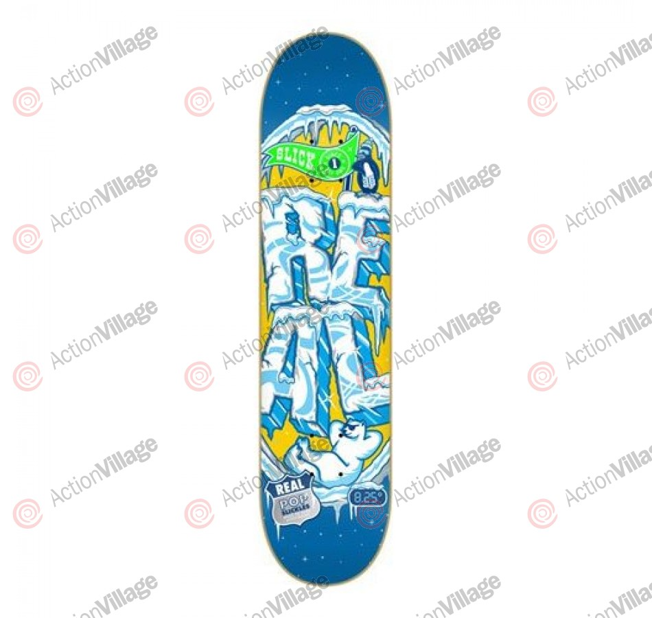 Real Pop Slickles II Lg - Blue/Yellow - 8.25 - Skateboard Deck