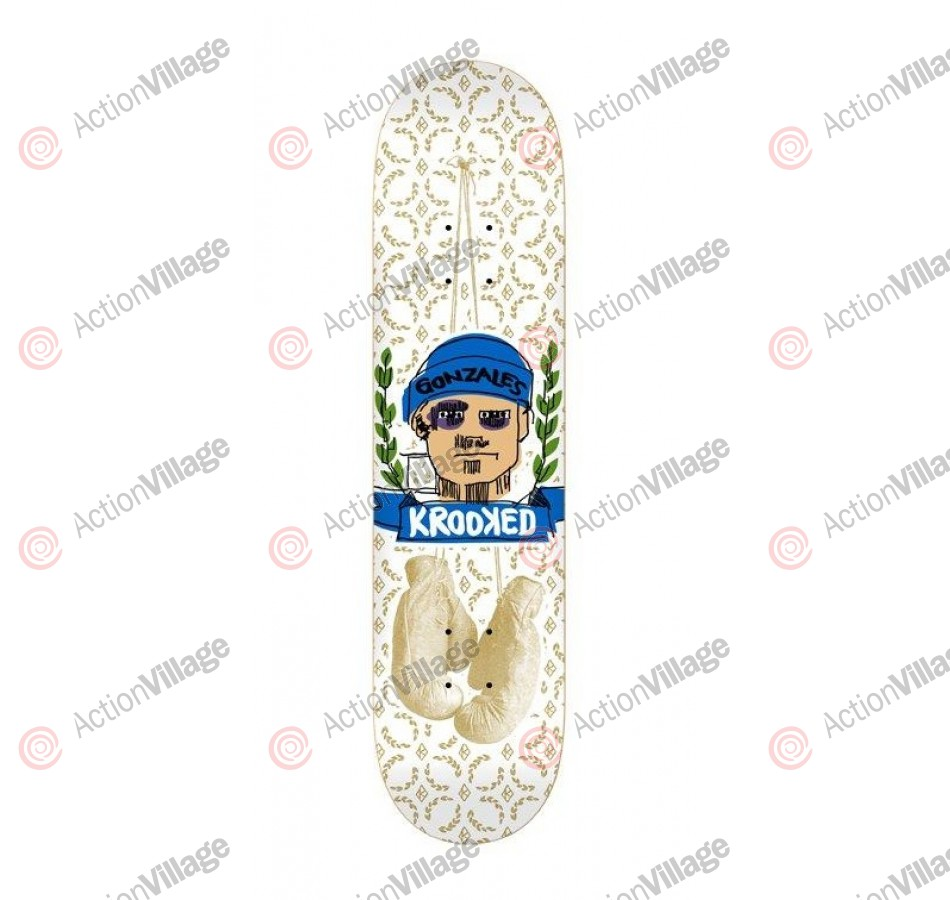 Krooked Gonz Fistikuffs - White - 8.38 - Skateboard Deck