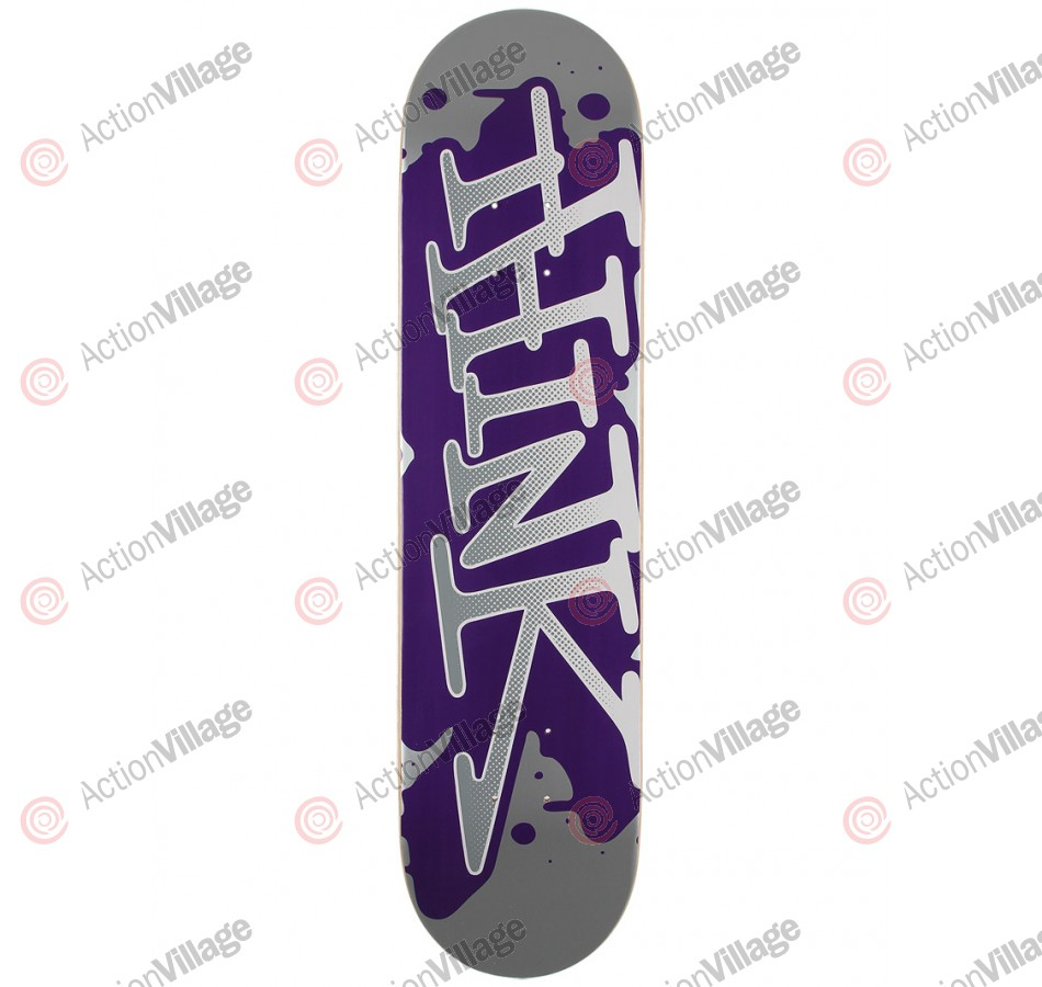 Think 'Spray Tag' Deck - Silver/Purple - 7.6 - Skateboard Deck