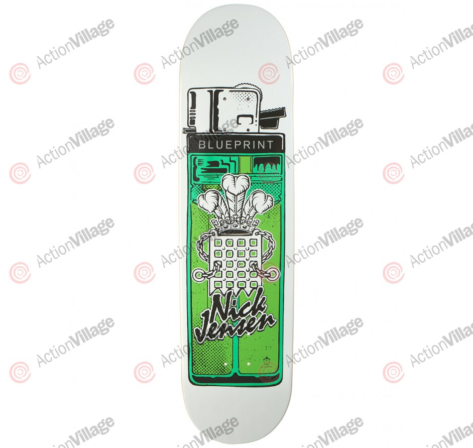 Blueprint Skateboards Jensen Big Smoke - White/Green - 8.125 - Skateboard Deck