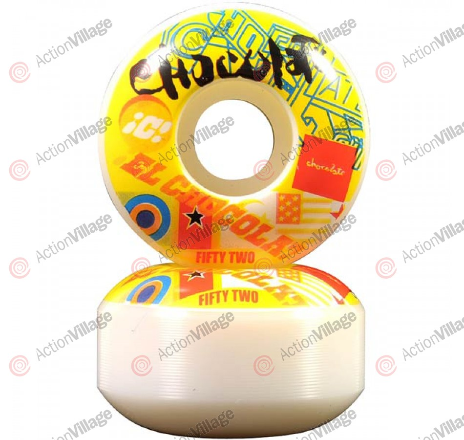 Chocolate Pile Up 52mm - White/Yellow - Skateboard Wheels
