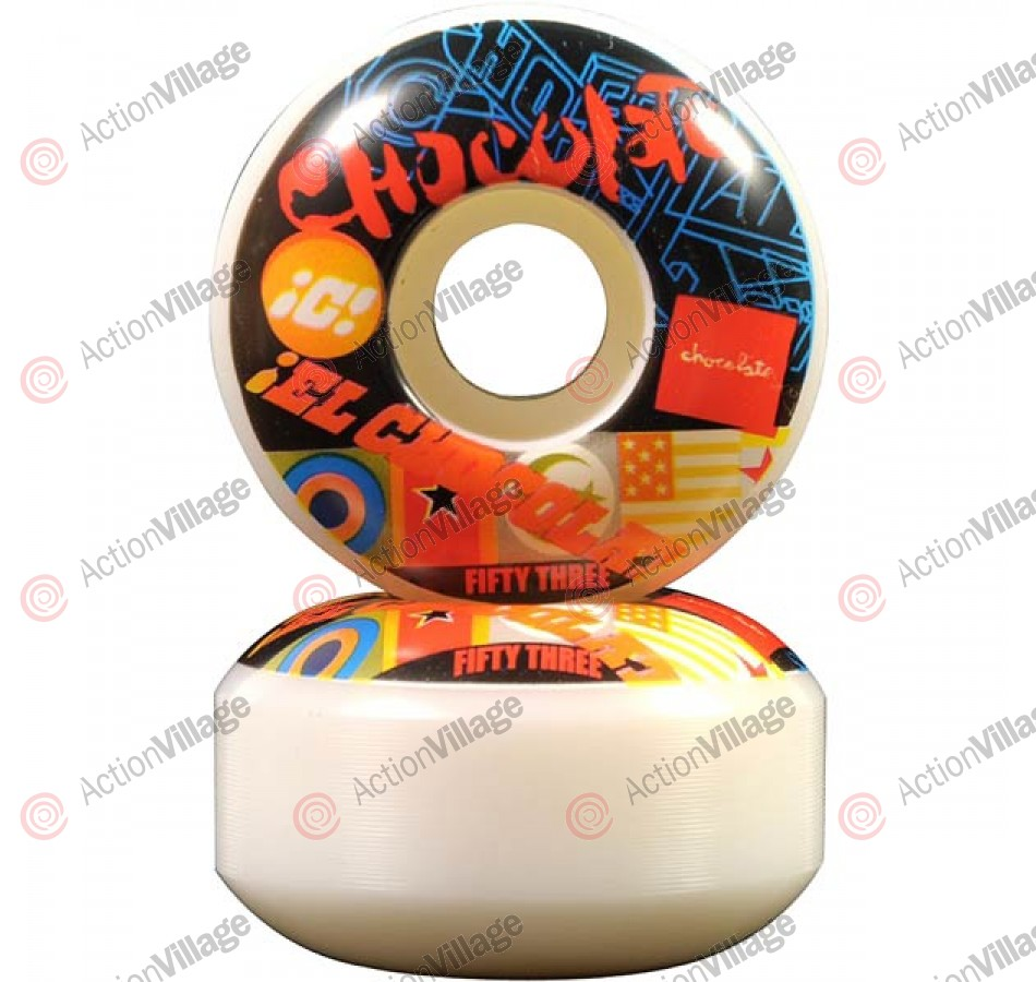 Chocolate Pile Up 53mm - White/Black - Skateboard Wheels