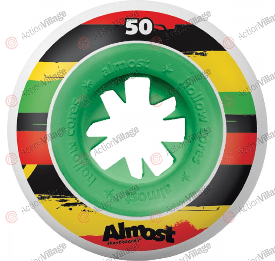 Almost Dirty Rastas Hollow Core - Green - 50mm - Skateboard Wheels
