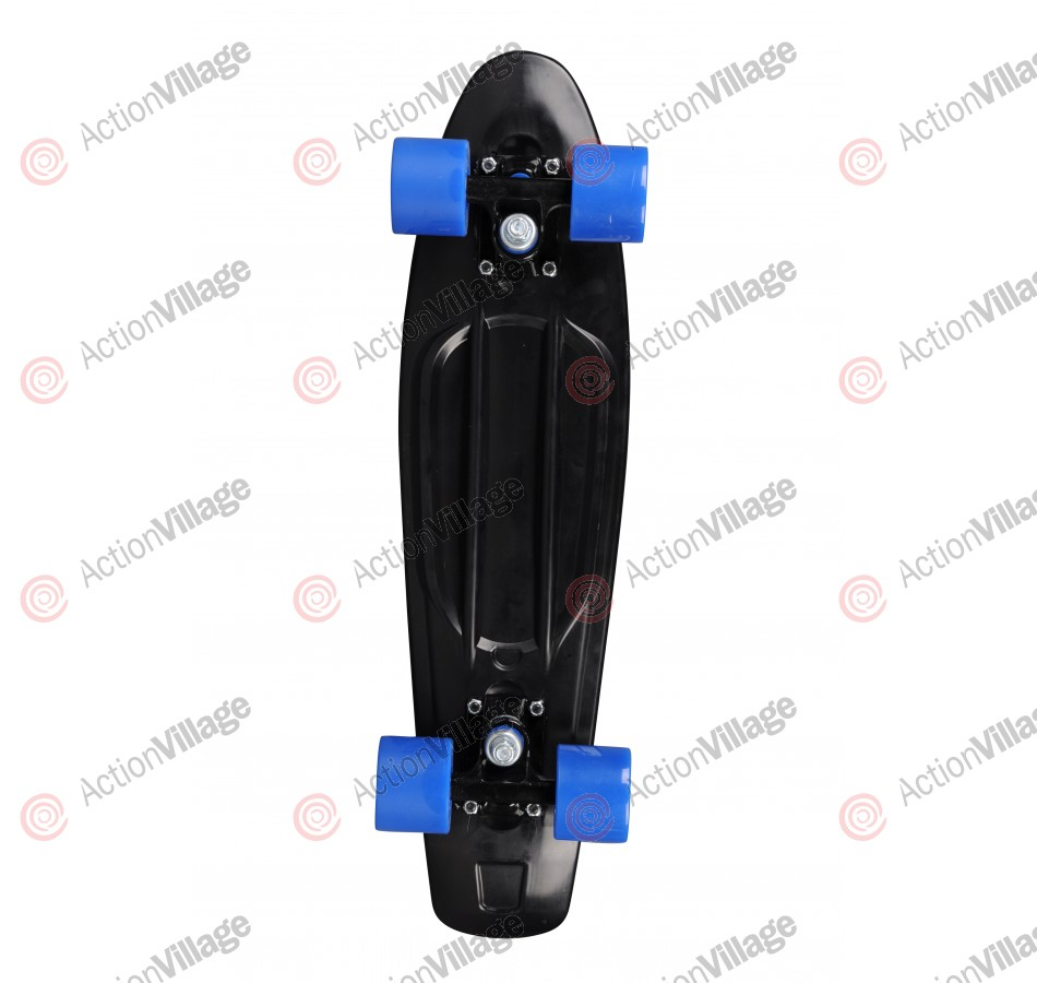 Rock On Mini Cruzer Black  w/Blue Wheels - Complete Skateboard