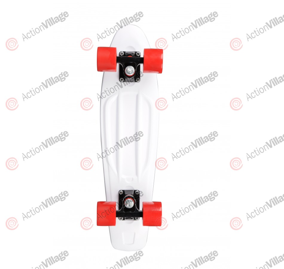 Rock On Mini Cruzer White w/Red Wheels - Complete Skateboard