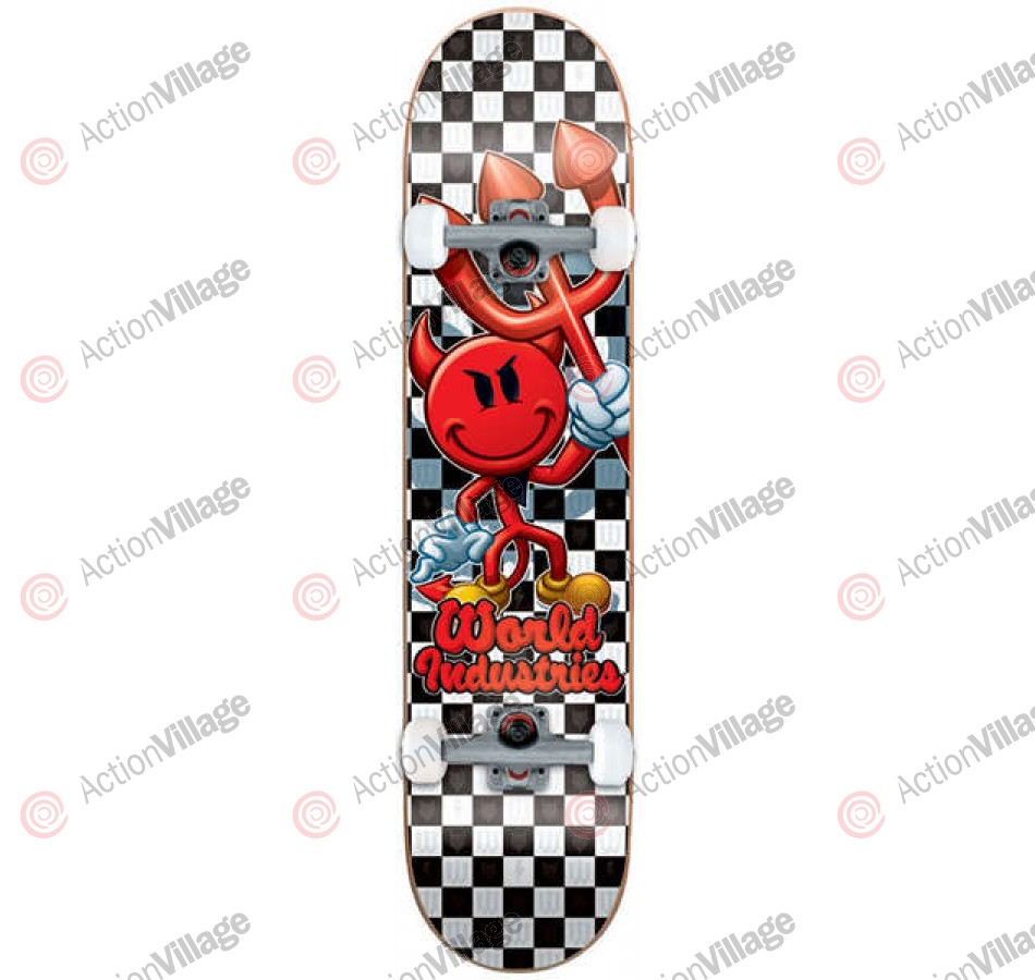 World Industries Checker Devilman - Black/White - 7.75 - Complete Skateboard