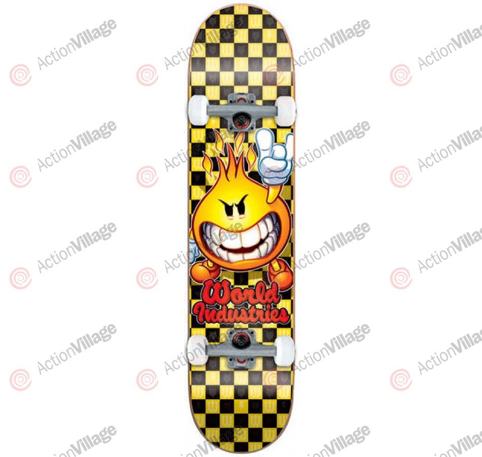World Industries Checker Flamboy - Yellow/Black - 7.5 - Complete Skateboard