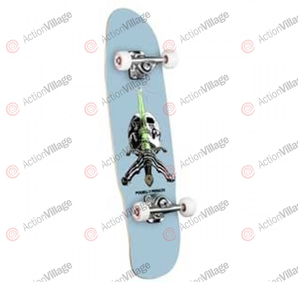 Powell Mini Skull & Sword Light Blue - 8 - Complete Skateboard