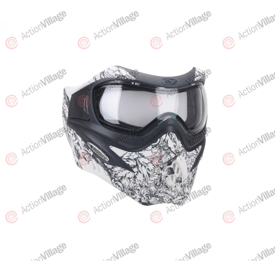 V-Force Grill Z Paintball Mask - Skull & Roses White
