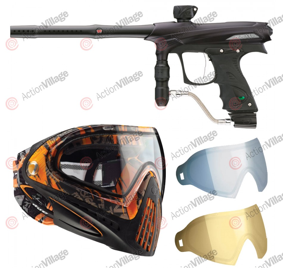 2011 Proto Rail PMR Paintball Gun w/ Dye I4 Mask & Dyetanium Lens - Dust Black