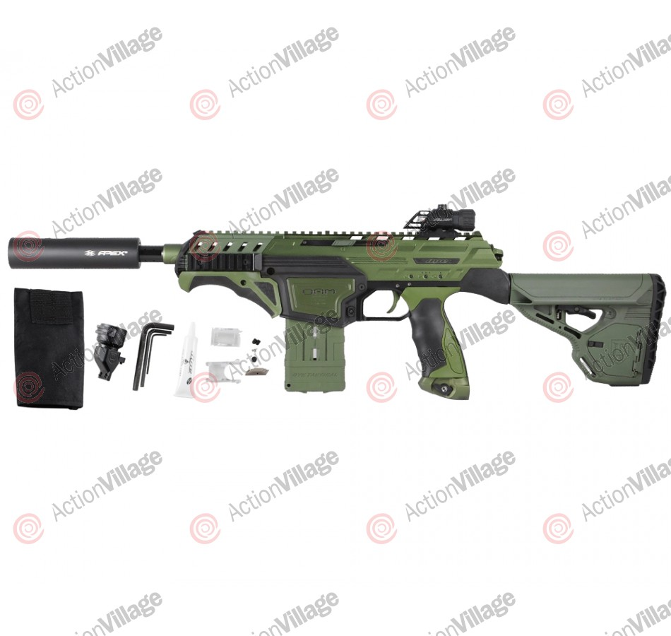 Dye Assault Matrix DAM Paintball Gun w/ Apex 2 Barrel & Izon Sight - Olive