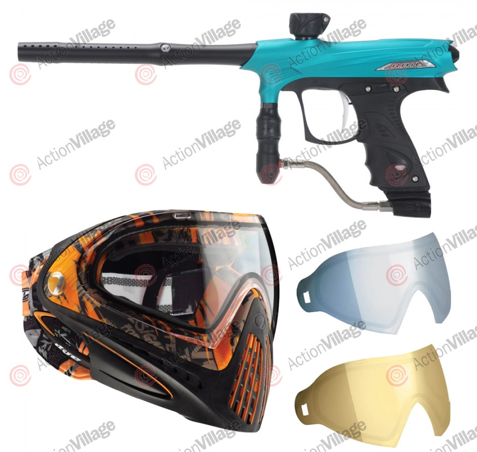 2011 Proto Rail PMR Paintball Gun w/ Dye I4 Mask & Dyetanium Lens - Dust Teal