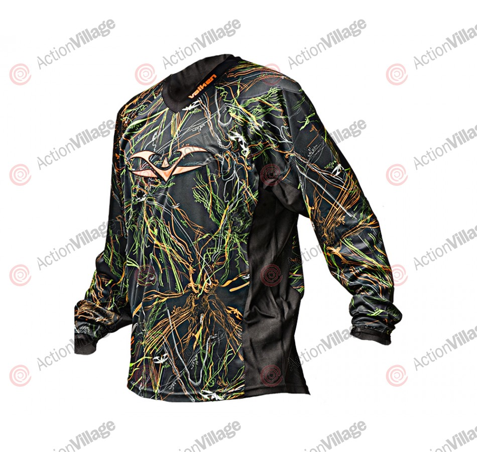 2012 Valken Crusade Paintball Jersey - Static Green/Orange