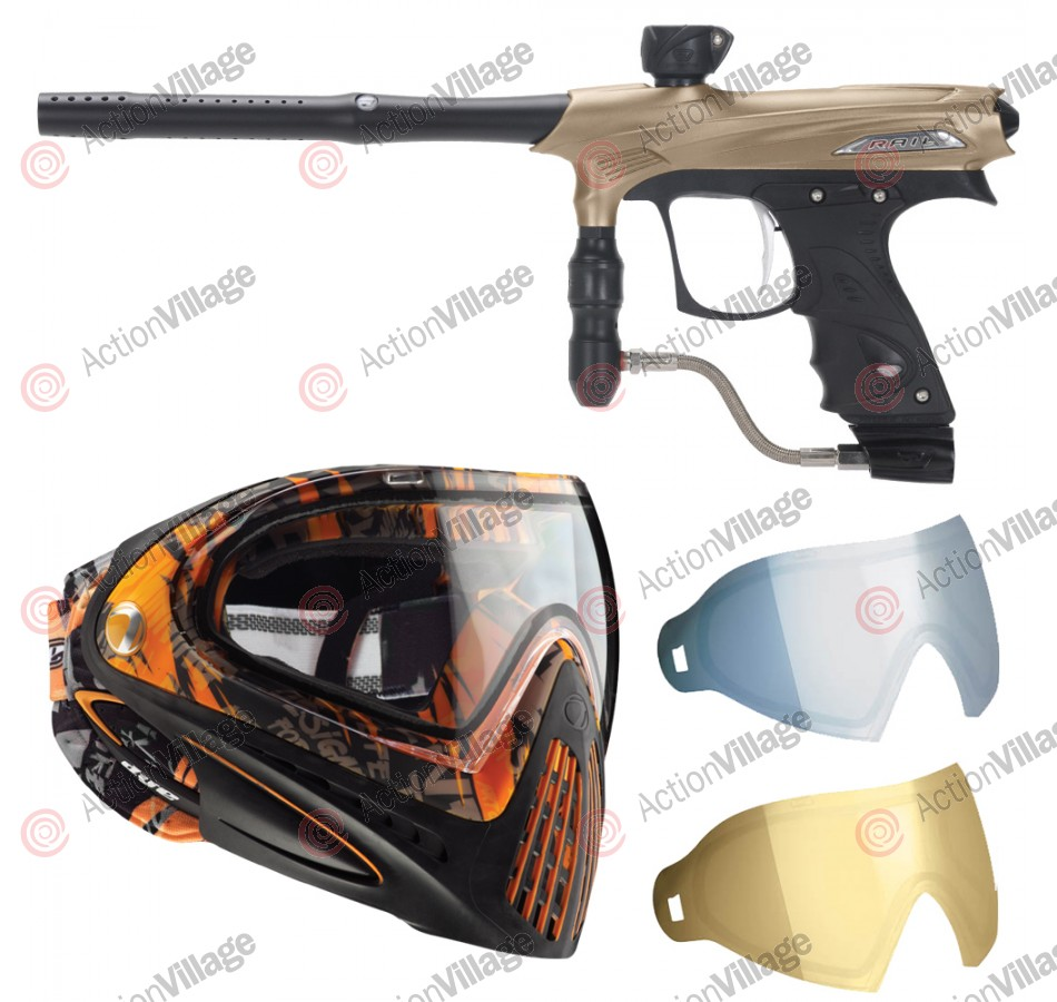 2011 Proto Rail PMR Paintball Gun w/ Dye I4 Mask & Dyetanium Lens - Dust Tan