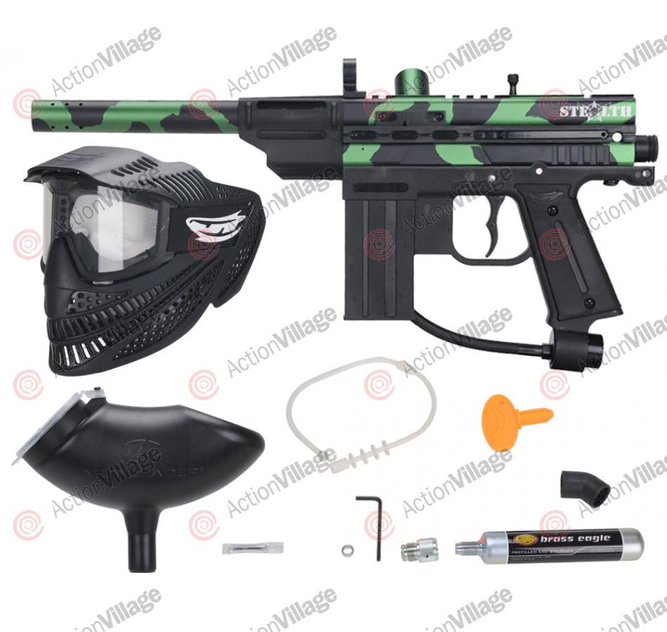 JT Stealth Paintball Gun Players Kit - Black/Green Camo