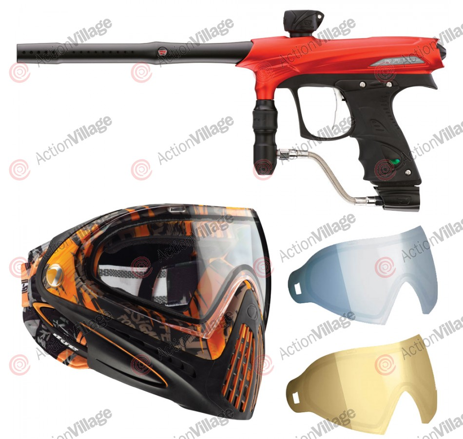 2011 Proto Rail PMR Paintball Gun w/ Dye I4 Mask & Dyetanium Lens - Dust Red