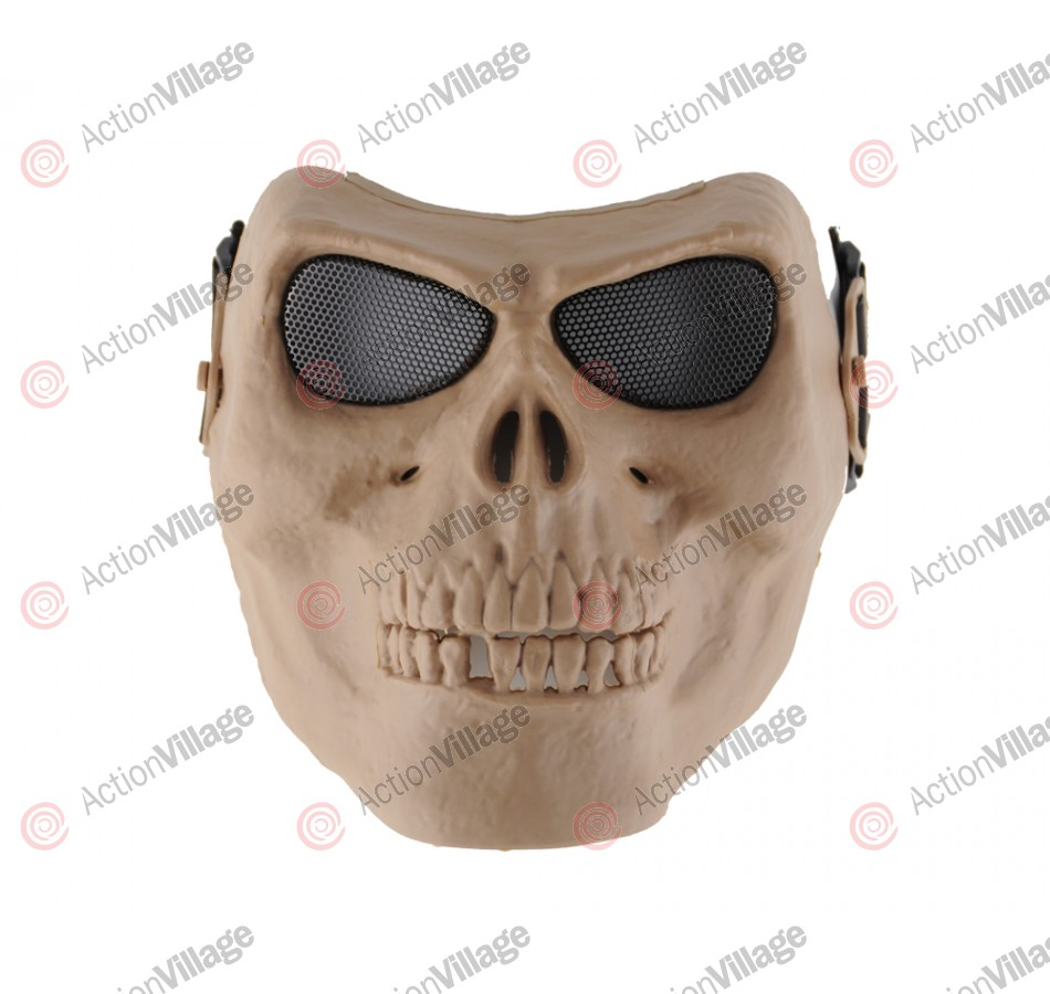 Full Skull Airsoft Mask - Mesh Goggles - Tan