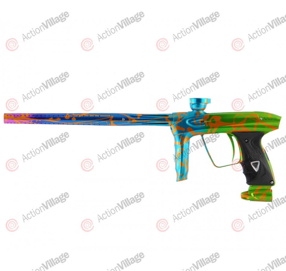 DLX Luxe 2.0 Paintball Gun - Lime/Blue Fade Splash