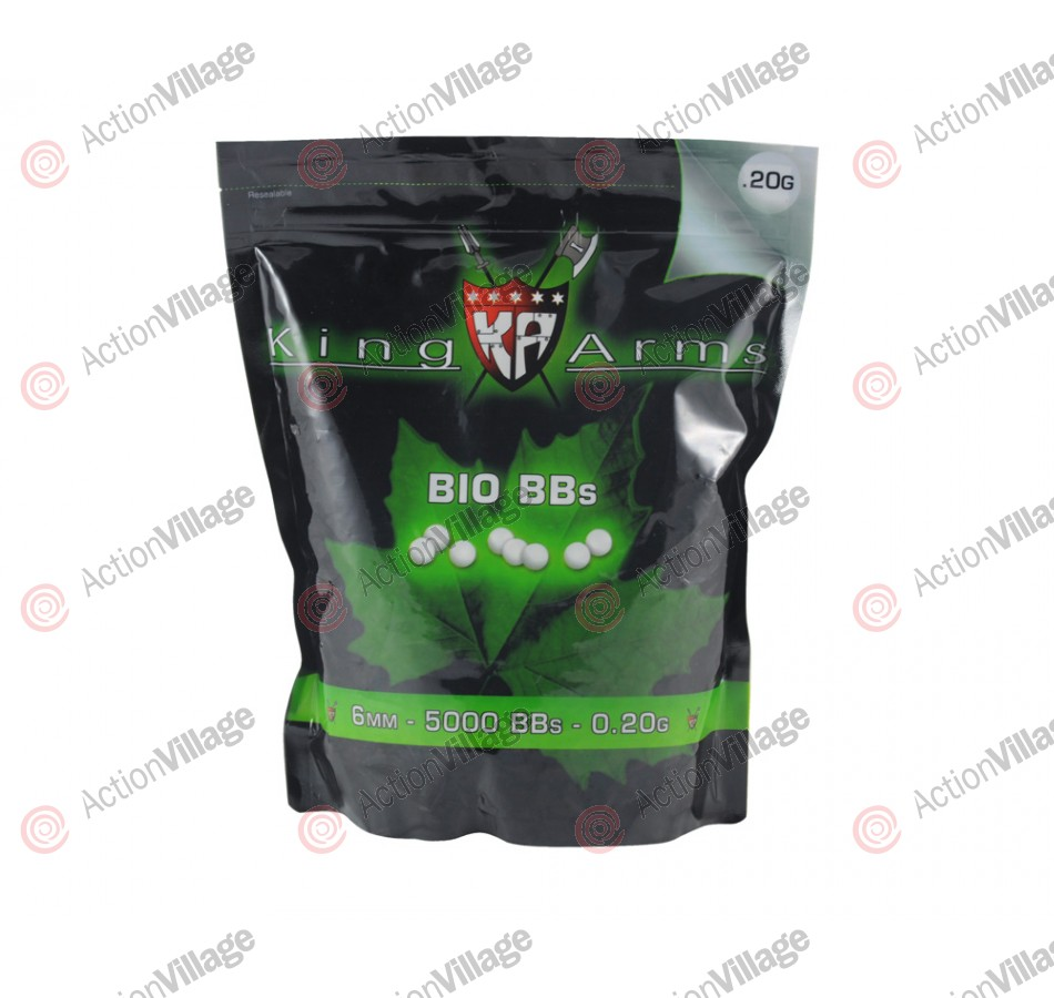 King Arms Airsoft .20g Premium Bio BB's - 5000ct - White