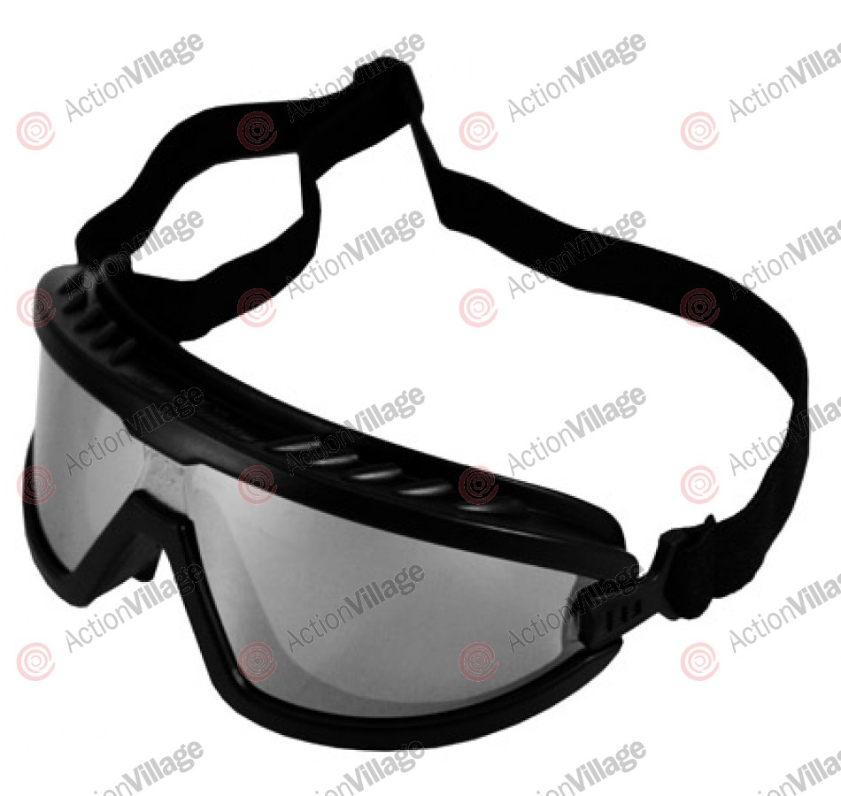 Airsoft Safety Goggles - Black/Silver Mirrored