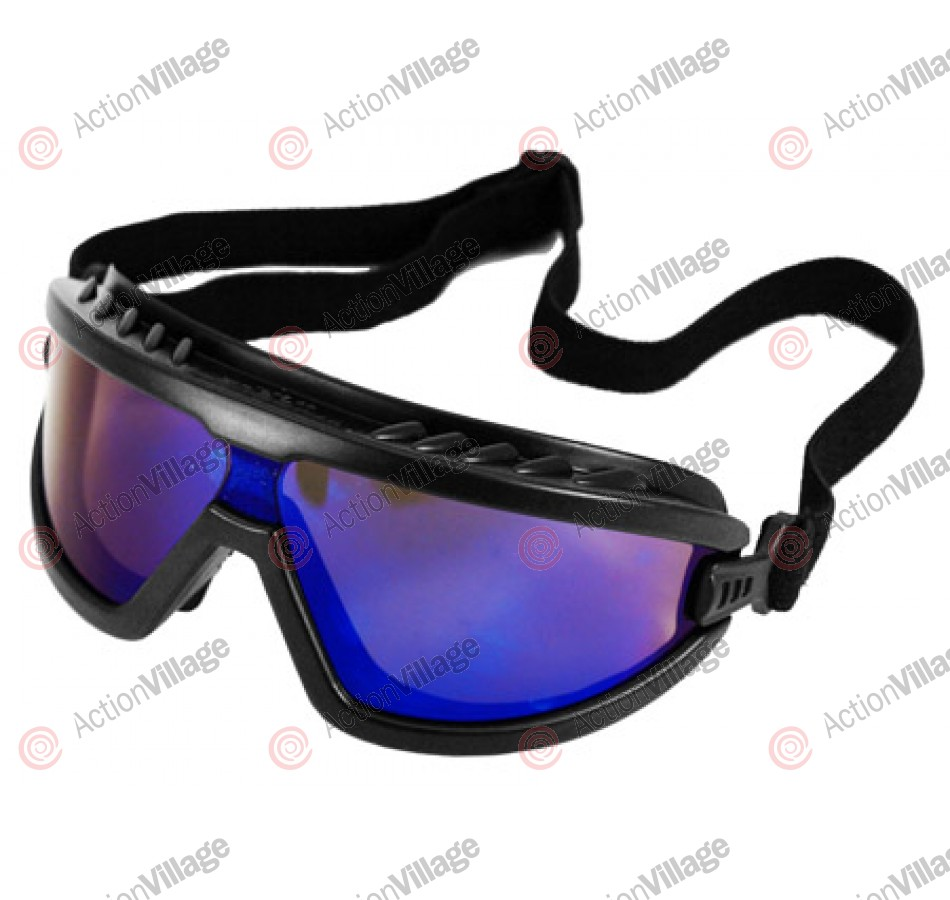 Airsoft Safety Goggles - Black/Blue Mirrored