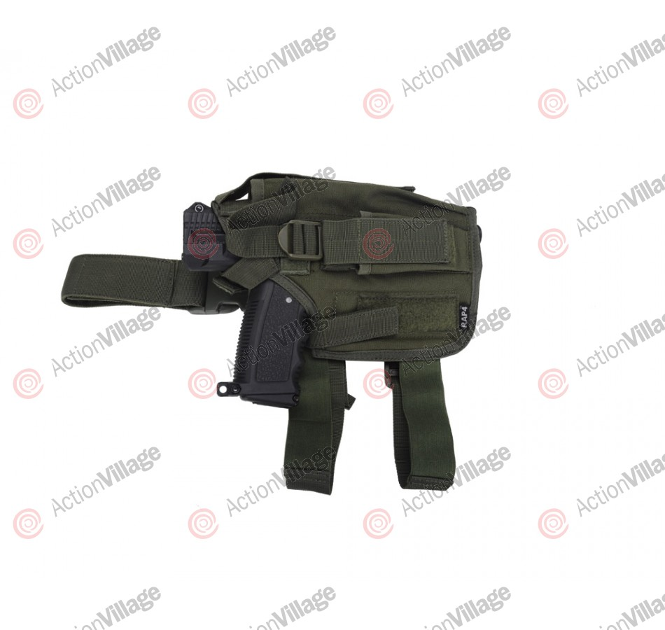 RAP4 Tippmann TPX Paintball Pistol Leg Holster - Right Hand - Olive