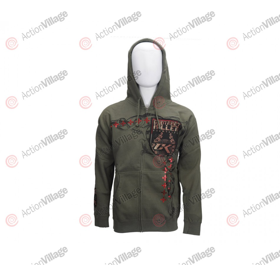 Contract Killer Bellator Zip Up Hoodie - Army/Foil Red Earth
