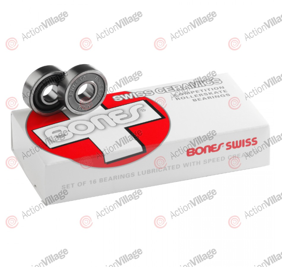 Bones Swiss Ceramics Bearings 608 (16 Bearing Pack) - 8mm - Skateboard Bearings
